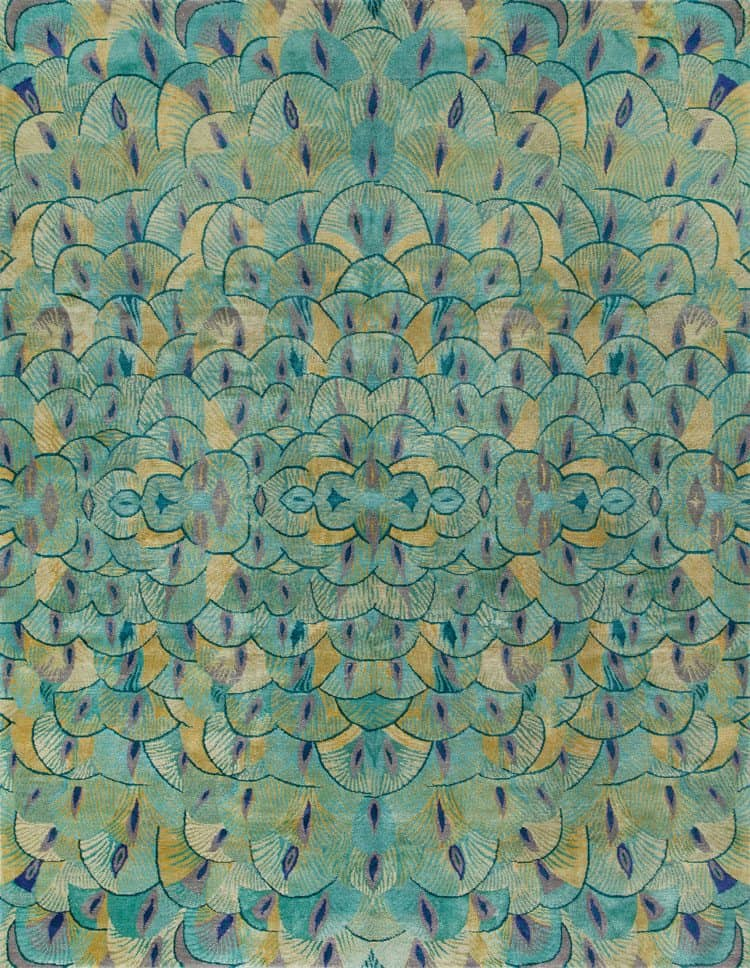Pavoral Teal New Moon Rugs